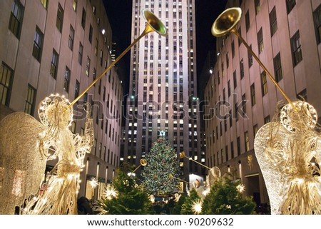 NEW YORK-DEC 2: Rockefeller Center all decorated surrounding the newly lit Christmas tree on December 2, 2011.