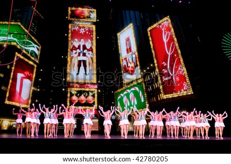 NEW YORK - DEC 10: Rockettes dance in Radio City Music Hall on Christmas Spectacular on December 10, 2009 in New York City.