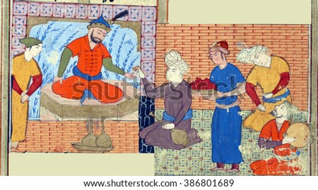 NEW YORK - DEC 11, 2015 -Zal (with a black beard) celebrates the birth of a son., Persian miniature from the Shahnamah - stock photo