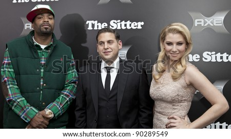 NEW YORK - DECEMBER 06: Actor Jonah Hill, Method Man & actress Ari Graynor attend 'The Sitter' premiere at Chelsea Clearview Cinemas on December 6, 2011 in New York City - stock photo