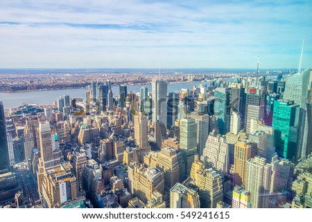NEW YORK - 20 DECEMBER, 2016: Aerial Panoramic View of New York City Skyline with Urban Skyscrapers, USA