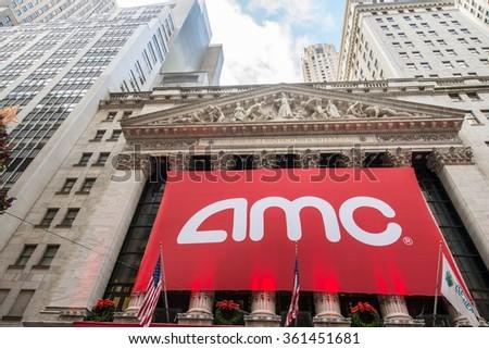New York - DECEMBER 18, 2013: AMC IPO on New York Stock Exchange - stock photo