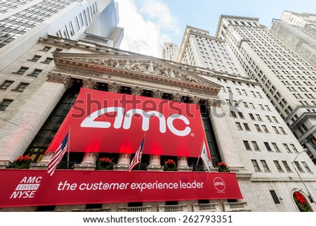 New York - DECEMBER 18, 2013: AMC IPO on New York Stock Exchange on December 18 in USA, New York. AMC is theater chain - stock photo