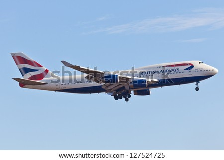 NEW YORK - DECEMBER 8: Boeing 747 British Airways climbs after take off from JFK in New York, USA on December 8 2012. British Airways is one of the oldest airlines and rated top 3 biggest in Europe - stock photo