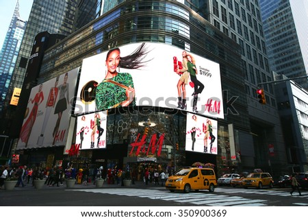 NEW YORK - DECEMBER 13, 2015: H&M Times Square store in Midtown Manhattan during Christmas shopping season - stock photo