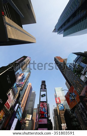 NEW YORK - DECEMBER 13, 2015: Modern skyscrapers at Times Square in Manhattan