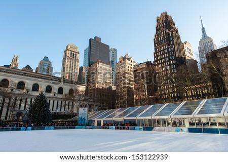NEW YORK - DECEMBER 30: Rink in Bryant Park with the Christmas tree on December 30, 2012 in New York City. - stock photo