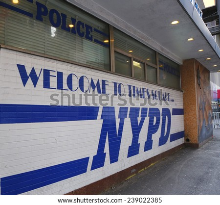 NEW YORK - DECEMBER 18 Sign at the famous NYPD Times Square Precinct in Midtown Manhattan on December 18, 2014