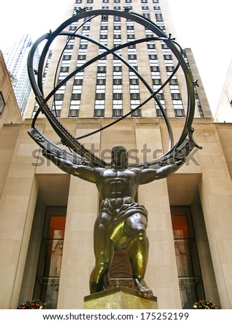 NEW YORK - DECEMBER 3:: The Atlas Statue at  Rockefeller Center, as a symbol of economic power in the 5th Ave, where the most expensive stores are located. In New York City, USA, on 3rd December 2010 - stock photo