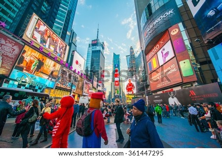 New York - DECEMBER 22, 2013: Times Square on December 22, 2013 in New York, USA - stock photo