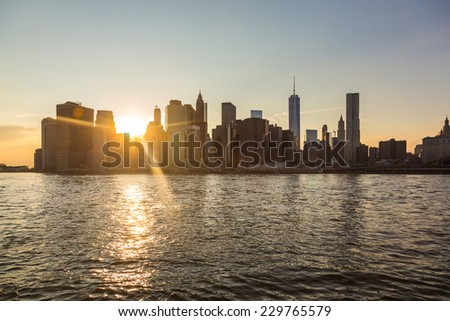 New York Downtown Skyline at Sunset