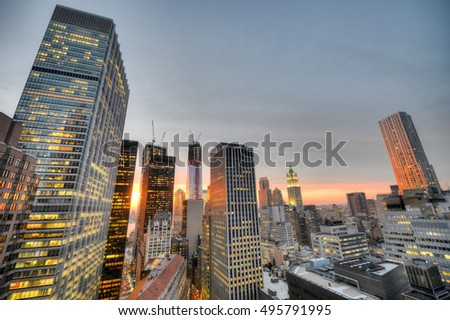 New York downtown skyline at sunset.