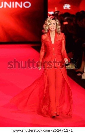 NEW YORK-FEB 12: Actress Donna Mills wears Mark Zunino at Go Red for Women - The Heart Truth Red Dress Collection at Mercedes-Benz Fashion Week at Lincoln Center on February 12, 2014 in New York City. - stock photo