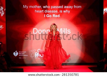 NEW YORK-FEB 12: Actress Donna Mills wears Mark Zunino at Go Red for Women-The Heart Truth Red Dress Collection at Mercedes-Benz Fashion Week at Lincoln Center on February 12, 2015 in New York City. - stock photo