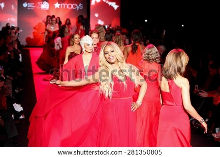 NEW YORK-FEB 12: Actress Laverne Cox walks the runway at Go Red for Women-The Heart Truth Red Dress Collection at Mercedes-Benz Fashion Week at Lincoln Center on February 12, 2015 in New York City. - stock photo