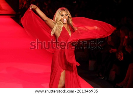 NEW YORK-FEB 12: Actress Laverne Cox wears Donna Karan at Go Red for Women-The Heart Truth Red Dress Collection at Mercedes-Benz Fashion Week at Lincoln Center on February 12, 2015 in New York City.