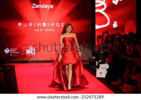 NEW YORK-FEB 12: Actress Zendaya wears Rubinsinger at Go Red for Women - The Heart Truth Red Dress Collection at Mercedes-Benz Fashion Week at Lincoln Center on February 12, 2015 in New York City. - stock photo