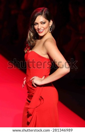 NEW YORK-FEB 12: Bethany Mota wears Badgely Mischka at Go Red for Women-The Heart Truth Red Dress Collection at Mercedes-Benz Fashion Week at Lincoln Center on February 12, 2015 in New York City. - stock photo