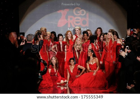 NEW YORK-FEB 6: Celebrities on runway at Go Red for Women-The Heart Truth Red Dress Collection fashion show during Mercedes-Benz Fashion Week at Lincoln Center on February 6, 2014 in New York City. - stock photo