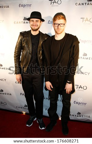 NEW YORK-FEB 10: DJ Truth (L) and Alex Samuvich attend the Cantamessa Men Launch Party at Tao Downtown Lounge on February 10, 2014 in New York City.