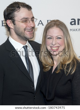 NEW YORK-FEB 5: Marc Mezvinsky and Chelsea Clinton attend the 2014 amfAR New York Gala at Cipriani Wall Street on February 5, 2014 in New York City.  - stock photo