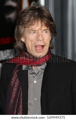 "NEW YORK - FEB 17: Mick Jagger of The Rolling Stones attends the premiere of ""Shutter Island"" at the Ziegfeld Theater on February 17, 2010 in New York City. - stock photo"