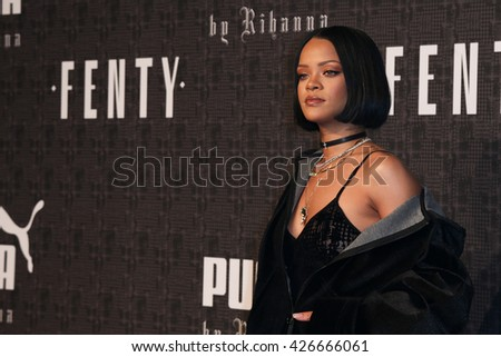 NEW YORK-FEB 12: Recording artist Rihanna attends the FENTY PUMA by Rihanna AW16 Collection during Fall 2016 New York Fashion Week at 23 Wall Street on February 12, 2016 in New York City. - stock photo