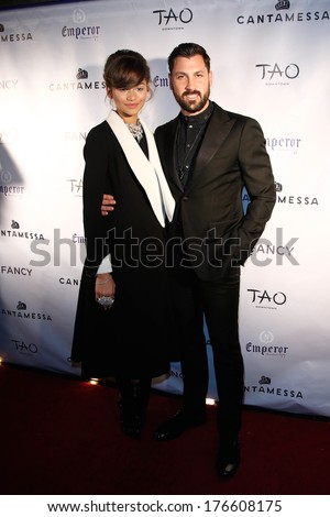 NEW YORK-FEB 10: Singer Zendaya (L) and dancer Maksim Chmerkovskiy attend the Cantamessa Men Launch Party at Tao Downtown Lounge on February 10, 2014 in New York City.