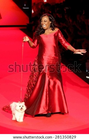 NEW YORK-FEB 12: TV personality Star Jones wears B Michael America at Go Red for Women-The Heart Truth Red Dress Collection at Mercedes-Benz Fashion Week on February 12, 2015 in New York City. - stock photo