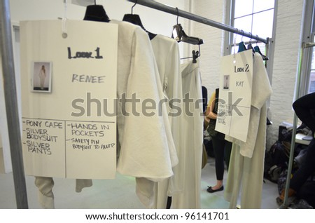 NEW YORK - FEBRUARY 11: A backstage interior before Sally La Pointe Fall/Winter 2012 presentation in Center 548 during New York Fashion Week on February 11, 2012 in NYC. - stock photo