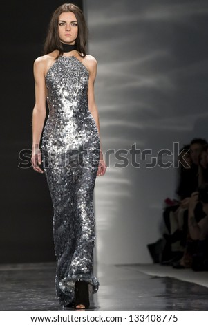 NEW YORK - FEBRUARY 11: A model is walking the runaway at Kaufman Franco Show for Fall/Winter 2013 Collection during Mercedes-Benz Fashion Week on February 11, 2013 in New York - stock photo