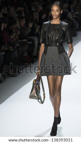NEW YORK - FEBRUARY 13: A model is walking the runaway at Milly by Michelle Smith Show for Fall/Winter 2013 Collection during Mercedes-Benz Fashion Week on February 13, 2013 in New York - stock photo
