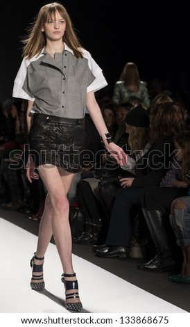 NEW YORK - FEBRUARY 8: A model is walking the runaway at Rebecca Minkoff Show for Fall/Winter 2013 Collection during Mercedes-Benz Fashion Week on February 8, 2013 in New York