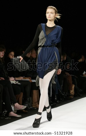 NEW YORK - FEBRUARY 11: A model is walking the runway at the BCBGMAXAZRIA  Collection for Fall/Winter 2010 during Mercedes-Benz Fashion Week on February 11, 2010 in New York - stock photo