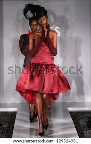 NEW YORK - FEBRUARY 10: A model walks runway for Victor de Souza collection at the Strand hotel during Mercedes-Benz Fashion Week on February 10, 2013 in New York City