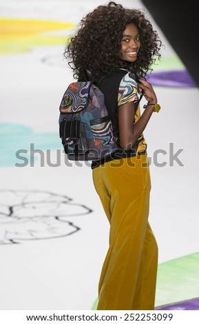 NEW YORK - FEBRUARY 12, 2015: A model walks the runway at Desigual show during Mercedes-Benz Fashion Week Fall 2015 at The Theatre at Lincoln Center - stock photo