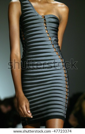 NEW YORK - FEBRUARY 14: A model walks the runway at the Herve Leger Collection for Fall/Winter 2010 during Mercedes Benz Fashion Week on February 14, 2010 in New York - stock photo