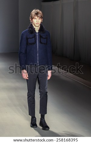 NEW YORK - FEBRUARY 13: A model walks the runway at the Orley Fall/Winter 2015 collection during Mercedes-Benz Fashion Week in New York on February 13, 2015. - stock photo