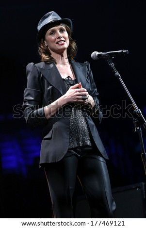 NEW YORK - February 5, 2014: Bridget Moynahan speaks during the Bringing Human Rights Home concert on February 5, 2014 in Brooklyn, New York.