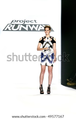 NEW YORK - FEBRUARY 12: Heidi Klum, stands on the runway at the Project Runway during Mercedes-Benz Fashion Week on February 12, 2010 in New York. - stock photo