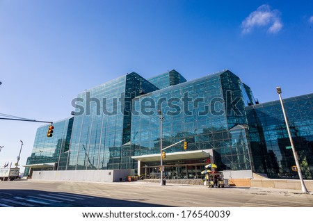 NEW YORK- February 10: Javits Convention Center in Manhattan on February 10, 2014. The convention center has a total area space of 1,800, 000 square ft and has 840,000 square ft of total exhibit space - stock photo