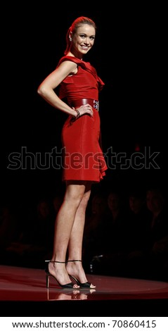 NEW YORK - FEBRUARY 09: Katrina Bowden in Oscar de la Renta dress walks runway for The Heart Truth's Red Dress Collection at Mercedes-Benz Fall/Winter 2011 Fashion Week on February 09, 2011 in NYC
