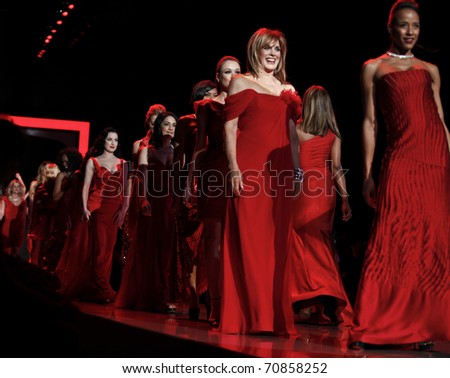 NEW YORK - FEBRUARY 09: Ladies walk runway for The Heart Truth's Red Dress Collection at Mercedez-Benz Fall/Winter 2011 Fashion Week on February 09, 2011 in New York City.
