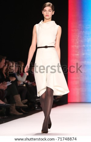 NEW YORK - FEBRUARY 14: Model Samantha Gradoville walks the runway at the Carolina Herrera Fall 2011 Collection presentation during Mercedes-Benz Fashion Week on February 14, 2011 in New York.