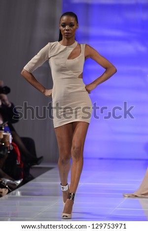 NEW YORK - FEBRUARY 15: Model walking the runway at Sinead Fachelli fashion show at The New Yorker Hotel during Couture Fashion Week on February 15, 2013 in New York City - stock photo