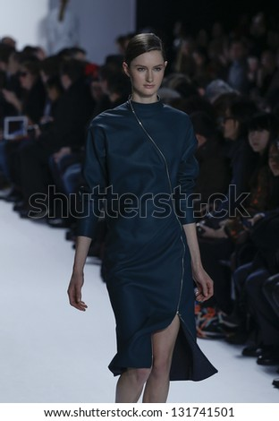 NEW YORK - FEBRUARY 9: Model walks runway at Fall 2013 show for Lacoste collection by Felipe Oliveira Baptista at Mercedes-Benz Fashion Week at Lincoln Center on February 9, 2013 in New York