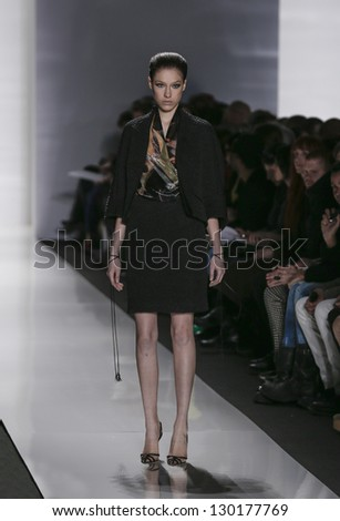 NEW YORK - FEBRUARY 10: Model walks runway during Fall/Winter 2013 presentation for Ralph Rucci collection at Mercedes-Benz Fashion Week at Lincoln Center on February 10, 2013 in New York