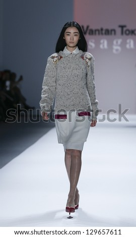 NEW YORK - FEBRUARY 12: Model walks runway during Fall/Winter 2013 presentation for Vantan Tokyo collection by Sagan at Mercedes-Benz Fashion Week at Lincoln Center on February 12, 2013 in New York
