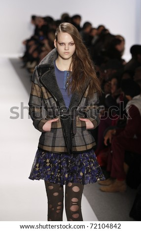 NEW YORK - FEBRUARY 12: Model walks runway for collection by Charlotte Ronson at Mercedes-Benz Fall/Winter 2011 Fashion Week on February 12, 2011 in New York City