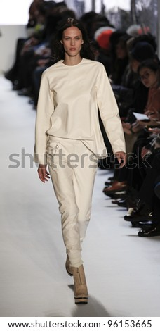 NEW YORK - FEBRUARY 11: Model walks runway for Lacoste collection by Felipe Oliveira Baptista during Fashion week at Lincoln Center in Manhattan on February 11, 2012 in New York City